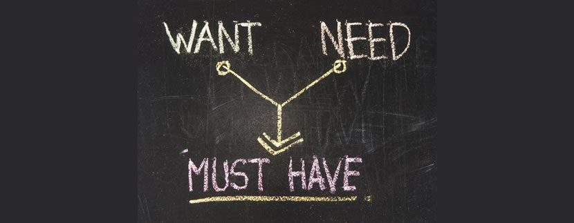 wants vs needs vs must have on black board