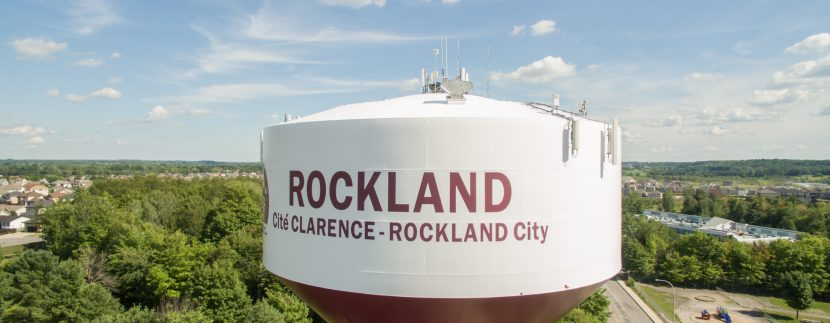 Aerial view of Clarence-Rockland water tank with Rockland in backview
